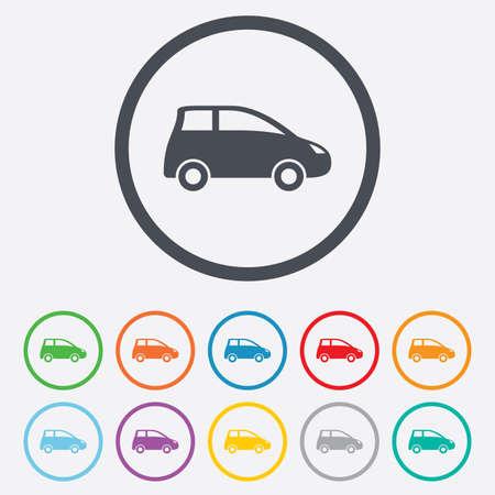 hatchback: Car sign icon. Hatchback symbol. Transport. Round circle buttons with frame. Vector Illustration