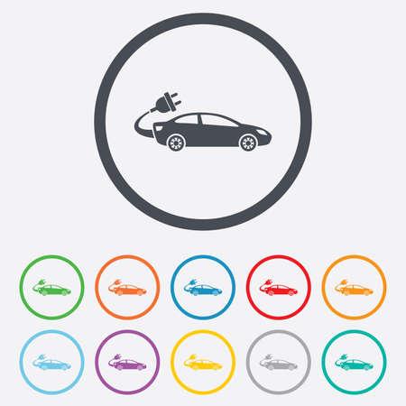 electric vehicle: Auto elettrica icona segno. Sedan simbolo berlina. Trasporto del veicolo elettrico. Cerchio pulsanti rotondi con telaio. Vettore