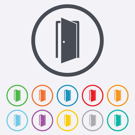 Door sign icon. Enter or exit symbol. Internal door. Round circle buttons with frame. Vector Vector