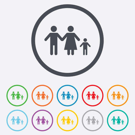 family with one child: Family with one child sign icon. Complete family symbol. Round circle buttons with frame. Vector