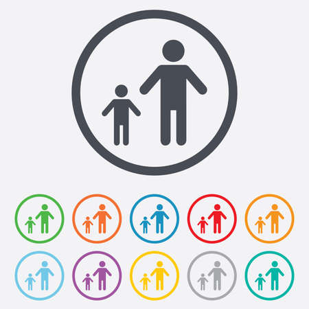 family with one child: One-parent family with one child sign icon. Father with son symbol. Round circle buttons with frame. Vector Illustration