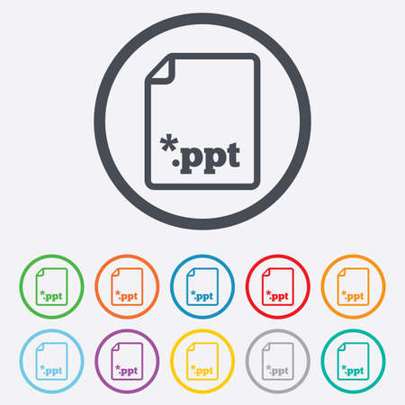 ppt: File presentation icon. Download PPT button. PPT file extension symbol. Round circle buttons with frame. Vector Illustration