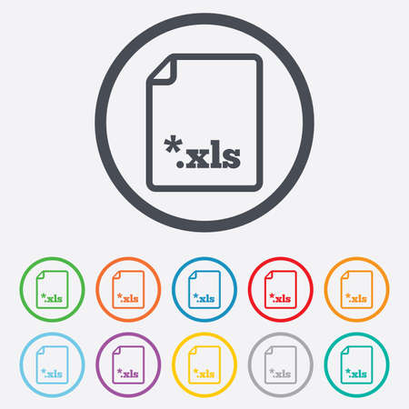 xls: Excel file document icon. Download xls button. XLS file extension symbol. Round circle buttons with frame. Vector
