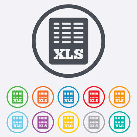 xls: Excel file document icon. Download xls button. XLS file symbol. Round circle buttons with frame. Vector Illustration