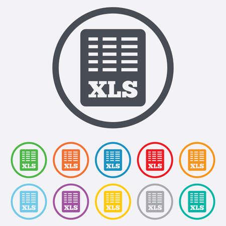 sobresalir: Icono de documento de archivo de Excel. Descargar bot�n xls. S�mbolo de archivo XLS. Botones de c�rculo redondos con marco. Vector
