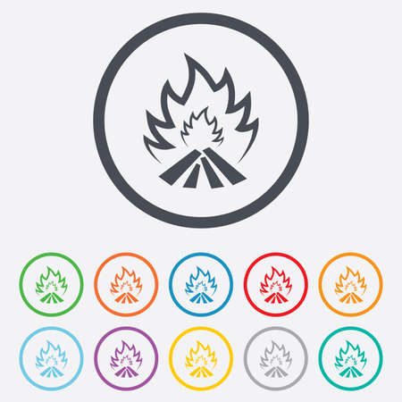 fire escape: Fire flame sign icon. Heat symbol. Stop fire. Escape from fire. Round circle buttons with frame. Vector