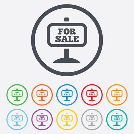 for sale sign: For sale sign icon. Real estate selling. Round circle buttons with frame. Vector