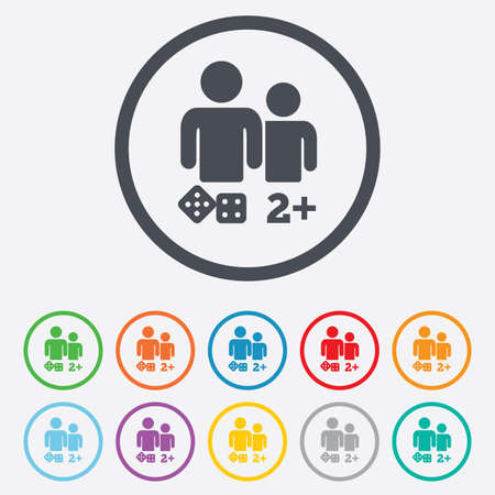 Board games sign icon. Two plus players symbol. Dice sign. Round circle buttons with frame. Vector Vector