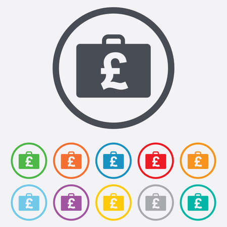 gbp: Case with Pounds GBP sign icon. Briefcase button. Round circle buttons with frame. Vector