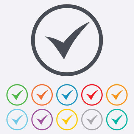 Check sign icon. Yes symbol. Confirm. Round circle buttons with frame. Vector Vector
