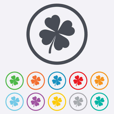 clover buttons: Clover with four leaves sign icon. Saint Patrick symbol. Round circle buttons with frame. Vector Illustration