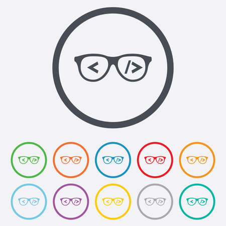 coder: Coder sign icon. Programmer symbol. Glasses icon. Round circle buttons with frame. Vector
