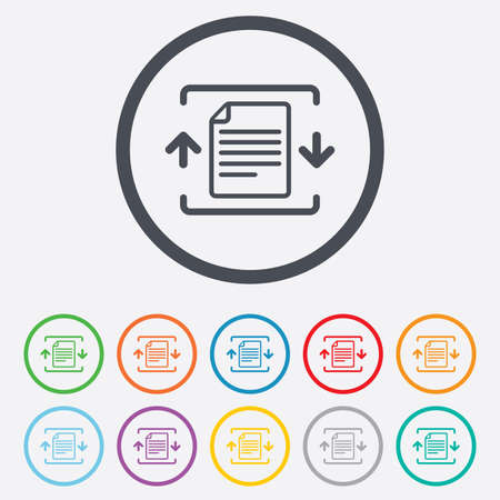 zipped: Archive file sign icon. Compressed zipped file symbol. Arrows. Round circle buttons with frame. Vector