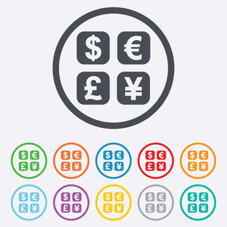currency converter: Currency exchange sign icon. Currency converter symbol. Money label. Round circle buttons with frame. Vector Illustration