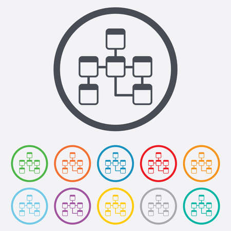 relational: Database sign icon. Relational database schema symbol. Round circle buttons with frame. Vector Illustration