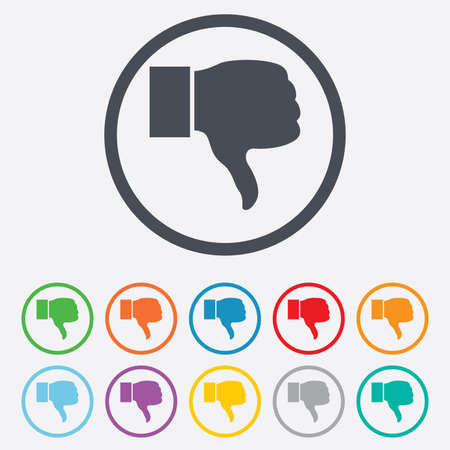 Dislike sign icon. Thumb down sign. Hand finger down symbol. Round circle buttons with frame. Vector Vector