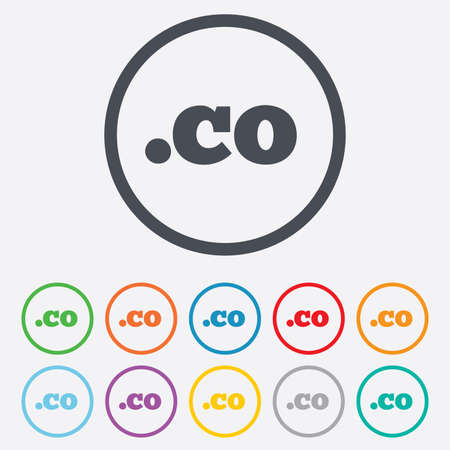 co: Domain CO sign icon. Top-level internet domain symbol. Round circle buttons with frame. Vector Illustration