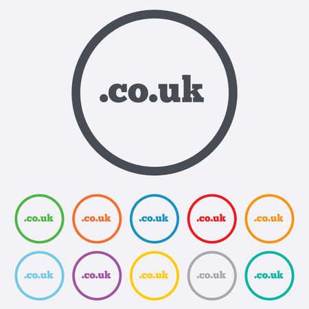 subdomain: Domain CO.UK sign icon. UK internet subdomain symbol. Round circle buttons with frame. Vector