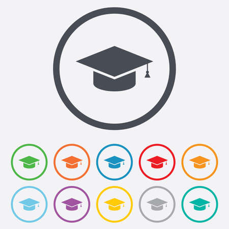 education icon: Graduation cap sign icon. Higher education symbol. Round circle buttons with frame. Vector