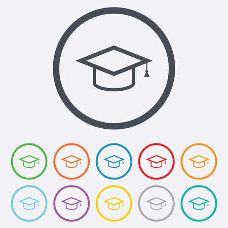 Graduation cap sign icon. Higher education symbol. Round circle buttons with frame. Vector