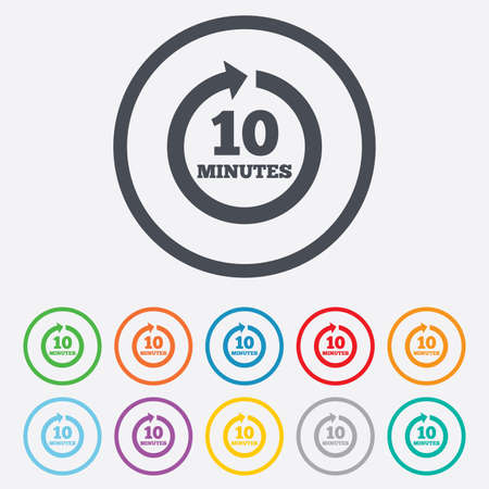 Every 10 minutes sign icon. Full rotation arrow symbol. Round circle buttons with frame. Vector Vector