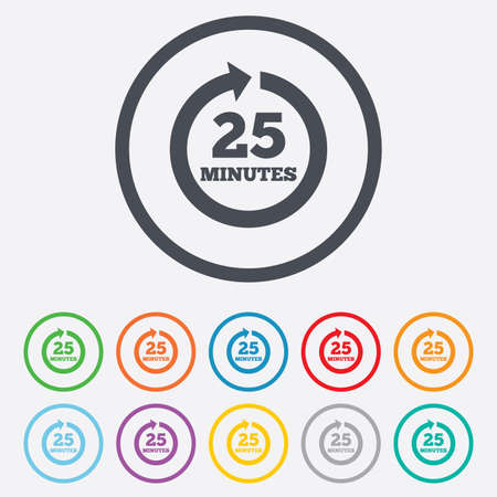Every 25 minutes sign icon. Full rotation arrow symbol. Round circle buttons with frame. Vector