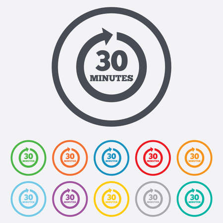 Every 30 minutes sign icon. Full rotation arrow symbol. Round circle buttons with frame. Vector Vector