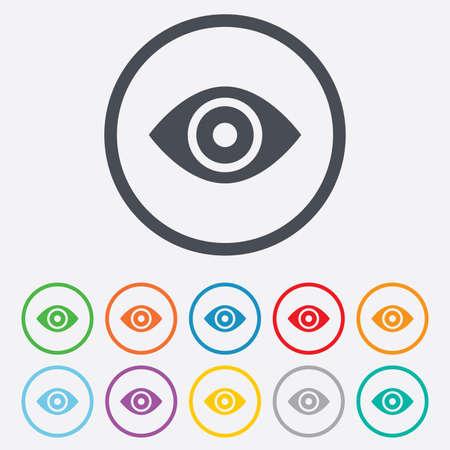 zichtbaarheid: Eye teken pictogram. Publiceren knop content. Zichtbaarheid. Ronde cirkel knoppen met frame. Vector