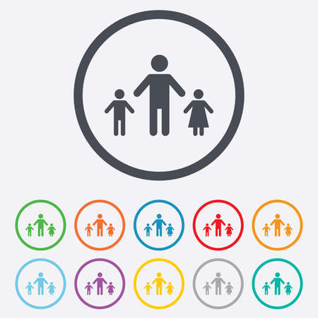 one parent: One-parent family with two children sign icon. Father with son and daughter symbol. Round circle buttons with frame. Vector Illustration