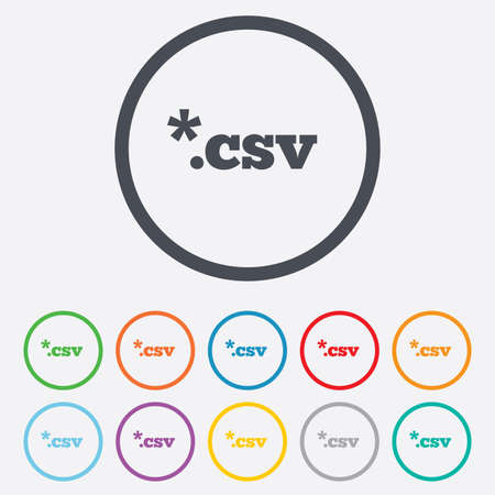 csv: File document icon. Download tabular data file button. CSV file extension symbol. Round circle buttons with frame. Vector