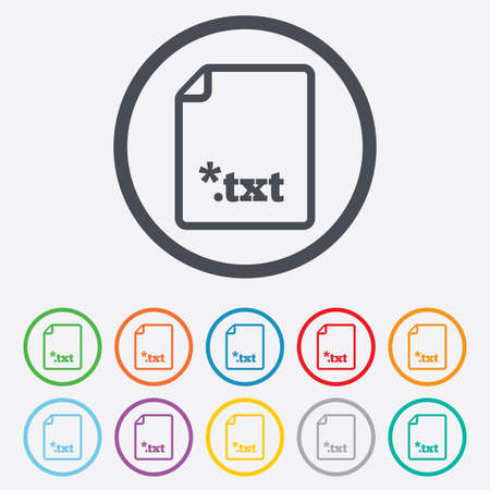 txt: Text file icon. Download txt doc button. Txt file extension symbol. Round circle buttons with frame. Vector