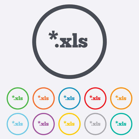 excel: Excel file document icon. Download xls button. XLS file extension symbol. Round circle buttons with frame. Vector