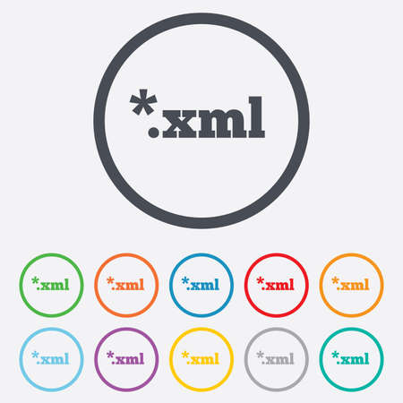 xml: File document icon. Download XML button. XML file extension symbol. Round circle buttons with frame. Vector