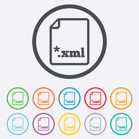extensible: File document icon. Download XML button. XML file extension symbol. Round circle buttons with frame. Vector