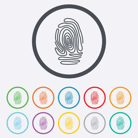 fingermark: Fingerprint sign icon. Identification or authentication symbol. Round circle buttons with frame. Vector Illustration