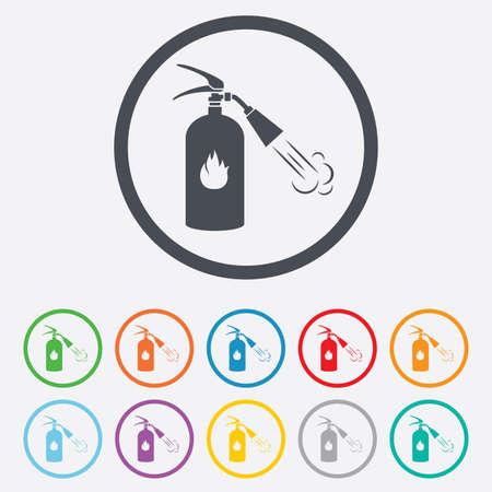 fire extinguisher sign: Extintor signo icono. S�mbolo de seguridad contra incendios. Botones de c�rculo de la Ronda con el marco. Vector