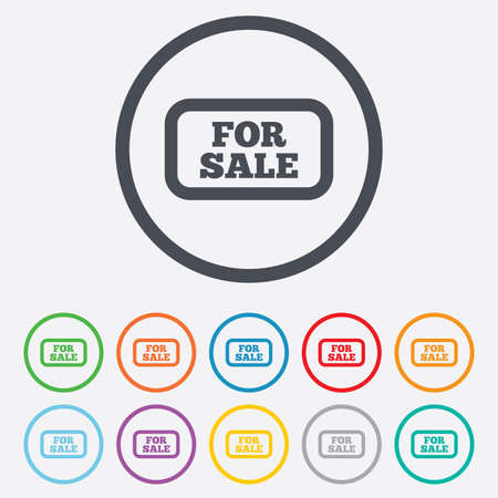 For sale sign icon. Real estate selling. Round circle buttons with frame. Vector Vector