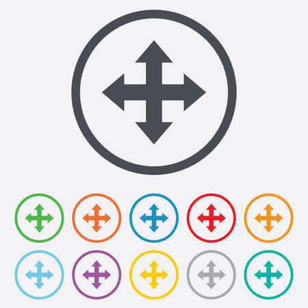Fullscreen sign icon. Arrows symbol. Icon for App. Round circle buttons with frame. Vector Vector
