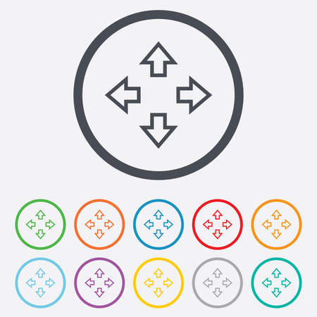fullscreen: Fullscreen sign icon. Arrows symbol. Icon for App. Round circle buttons with frame. Vector Illustration