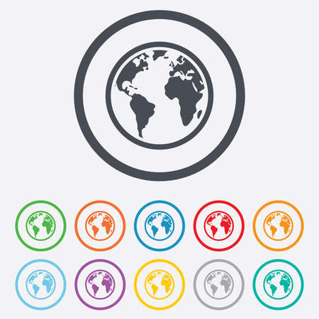 Globe sign icon world map geography symbol round circle buttons world map geography symbol round circle buttons with frame vector sciox Gallery