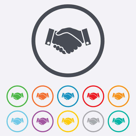 Handshake sign icon. Successful business symbol. Round circle buttons with frame. Vector Çizim