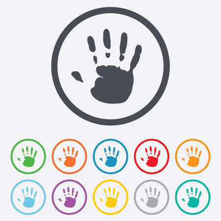 Hand print sign icon. Stop symbol. Round circle buttons with frame. Vector Vector
