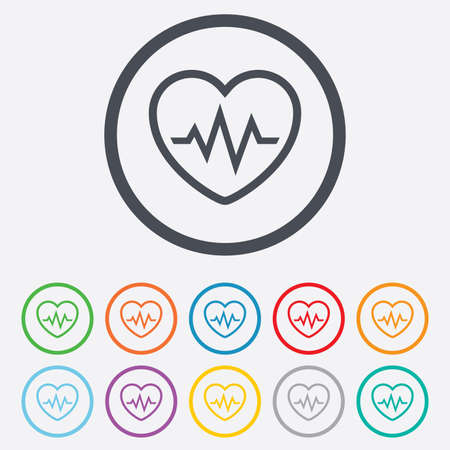 Heartbeat sign icon. Cardiogram symbol. Round circle buttons with frame. Vector Vector