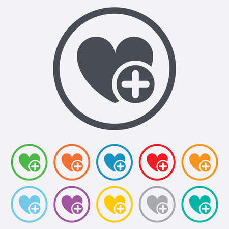 Heart sign icon. Add lover symbol. Plus love. Round circle buttons with frame. Vector Vector