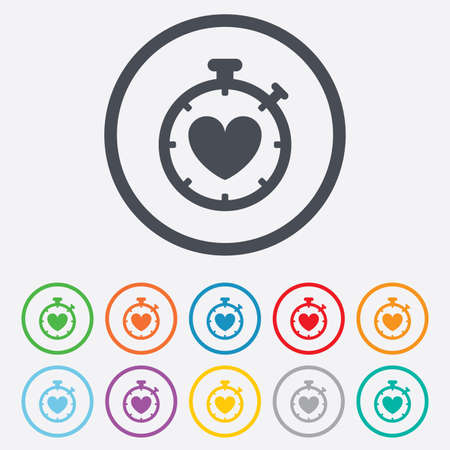 palpitation: Heart Timer sign icon. Stopwatch symbol. Heartbeat palpitation. Round circle buttons with frame. Vector