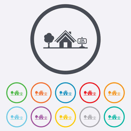 Home sign icon. House for sale. Broker symbol. Round circle buttons with frame. Vector Vector