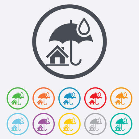 belay: Home insurance sign icon. Real estate insurance symbol. Round circle buttons with frame. Vector