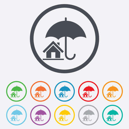 Home insurance sign icon. Real estate insurance symbol. Round circle buttons with frame. Vector Vector