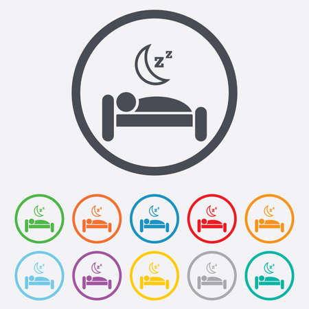 Hotel apartment sign icon. Travel rest place. Sleeper symbol. Round circle buttons with frame. Vector Vector