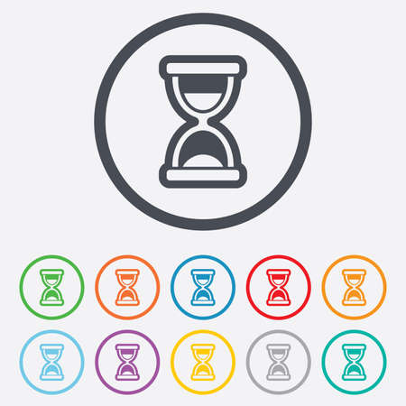 sand timer: Hourglass sign icon. Sand timer symbol. Round circle buttons with frame. Vector